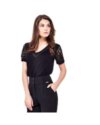 Guess | Black Viscose Top With Lace Sleeve | Lyst