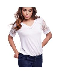 Guess | White Viscose Top With Lace Sleeve | Lyst
