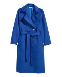 H&M Blue + Wool-blend Coat