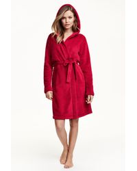 H&M | Red Fleece Dressing Gown | Lyst