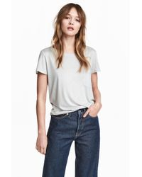 H&M - Gray Jersey Top - Lyst