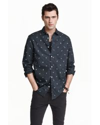 H&M | Black Cotton Shirt Relaxed Fit for Men | Lyst