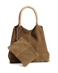 H&M Brown Suede Shopper With Clutch