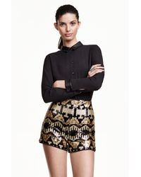 H&M | Black Sequined Shorts | Lyst