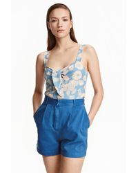 H&M | Blue Cotton Shorts | Lyst