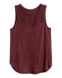 H&M Purple Top With Lace