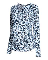 H&M Blue Mama V-neck Top