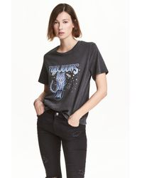 H&M | Black T-shirt With A Motif | Lyst