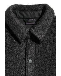 H&M Black Bouclé Shirt Jacket for men