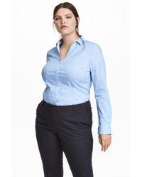 H&M Blue + V-neck Shirt