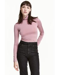 H&M Pink Polo-neck Top