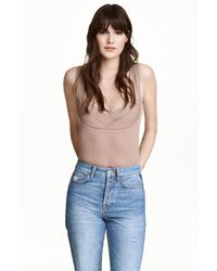 H&M | Natural Ribbed Jersey Body | Lyst