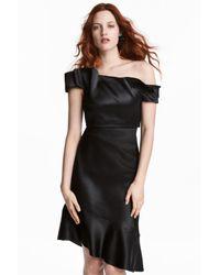 H&M Black Short Flounced Top