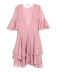 H&M Pink Lyocell-blend Tiered Dress