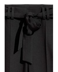 H&M Black Wide-leg Pants With Tie Belt