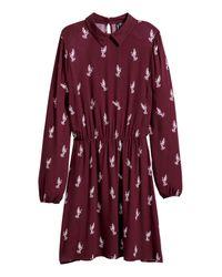 H&M Red Patterned Viscose Dress