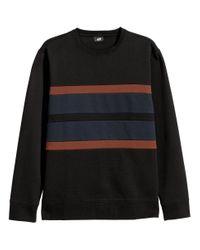 H&M - Black Block-striped Sweatshirt for Men - Lyst