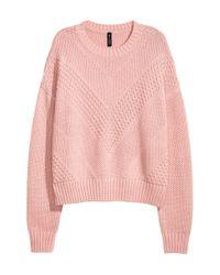 H&M - Pink Textured-knit Jumper - Lyst
