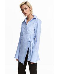 H&M Blue Asymmetric Cotton Blouse