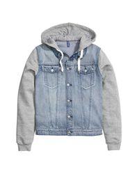H&M Blue Denim Jacket With A Hood for men