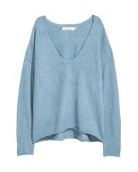 H&M Blue V-neck Jumper
