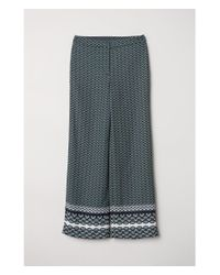 H&M - Green Patterned Trousers - Lyst