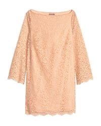 H&M - Natural + Lace Dress - Lyst