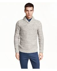 H&M | Gray Cotton Shawl-collar Jumper for Men | Lyst