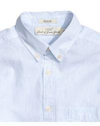 H&M - Blue Cotton Shirt for Men - Lyst