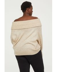 H&M - Natural Off-the-shoulder Sweater - Lyst