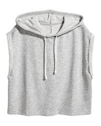 e7d91af66e530 Lyst - H M Sleeveless Hooded Top in Gray