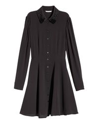 H&M Black Crêped Shirt Dress