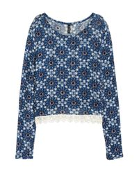 H&M Blue Printed Jumper With Lace Trim