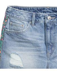 H&M - Blue Denim Shorts - Lyst