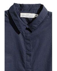 H&M Blue Short-sleeved Cotton Shirt