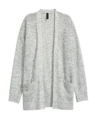 H&M - Gray Knitted Cardigan - Lyst