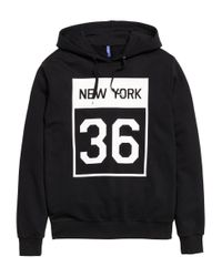 H&M - Black Hooded Top With A Print Motif for Men - Lyst