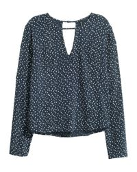 H&M Blue Long-sleeved Blouse