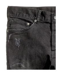 H&M - Black Slim Low Trashed Jeans for Men - Lyst