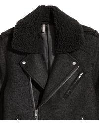 H&M Black Wool-blend Biker Jacket for men