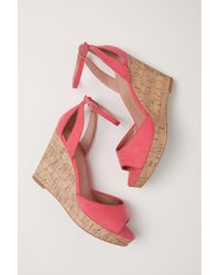 H&M Pink Wedge-heel Platform Sandals