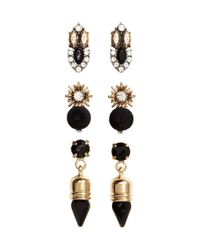H&M   Black 3-pack Earrings   Lyst