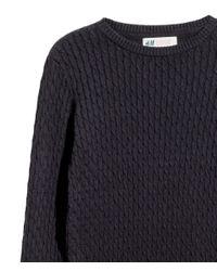 H&M - Blue Cable-knit Cotton Jumper - Lyst