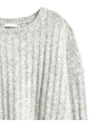 H&M | Gray Ribbed Jumper | Lyst