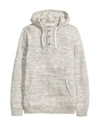 H&M - Gray Knitted Hooded Jumper - Lyst