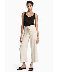 H&M Natural Pinstriped Trousers