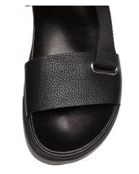H&M - Black Leather Sandals - Lyst