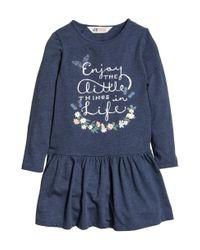 H&M | Blue Printed Jersey Dress | Lyst