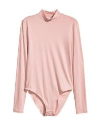 H&M - Pink Turtleneck Body - Lyst