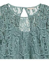 H&M Green + Lace Blouse